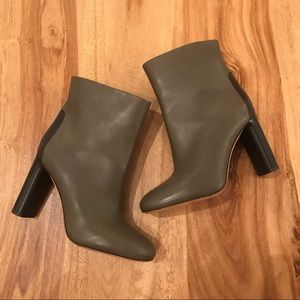 Vince Olive Green Leather Heeled Booties